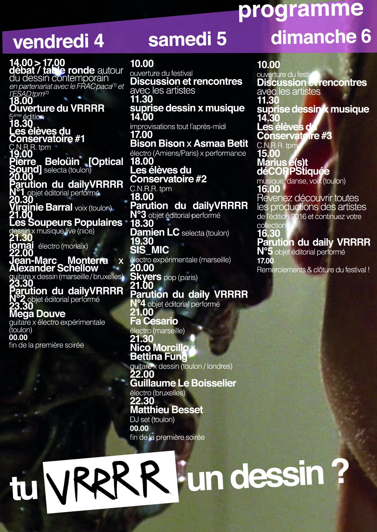programmation horaire VRRRR 2016